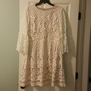 Eliza J White and Nude Lace Dress with Bell Sleeve